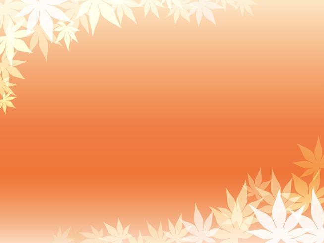 Un cadre de feuille d'érable or sur un fond orange.