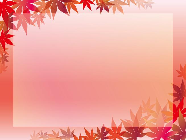 Maple leaf frame on a pinkish background.  vector