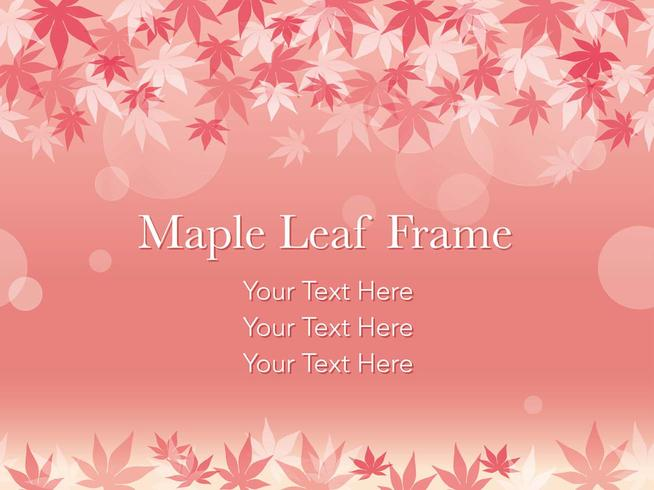 Seamless vector maple leaf frame on a pinkish background.