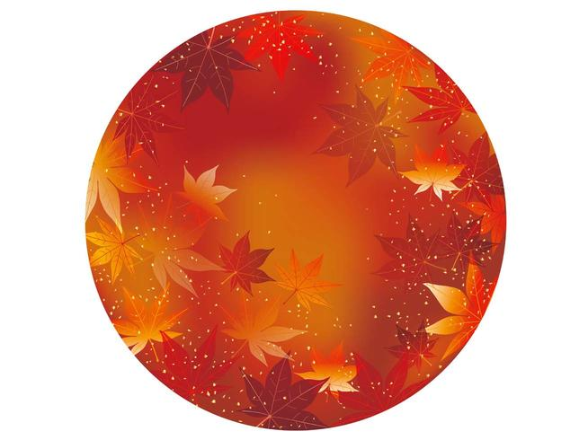 Red circular autumn background, vector illustration.