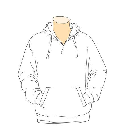 blank white outline hooded sweatshirt template