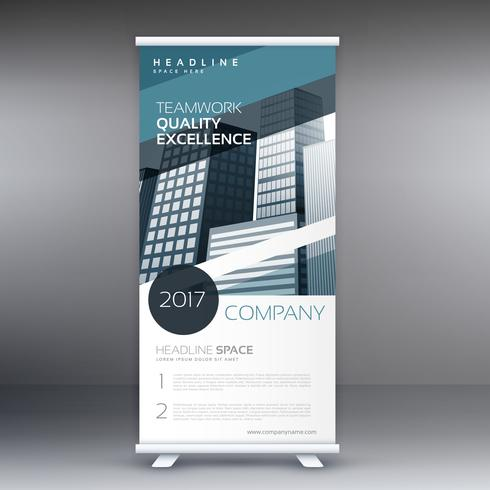 blue abstract business standee roll up presentation banner conce