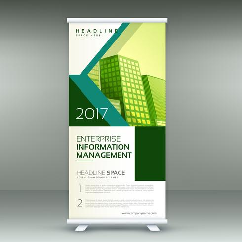 amazing business roll up banner design with abstract shapes