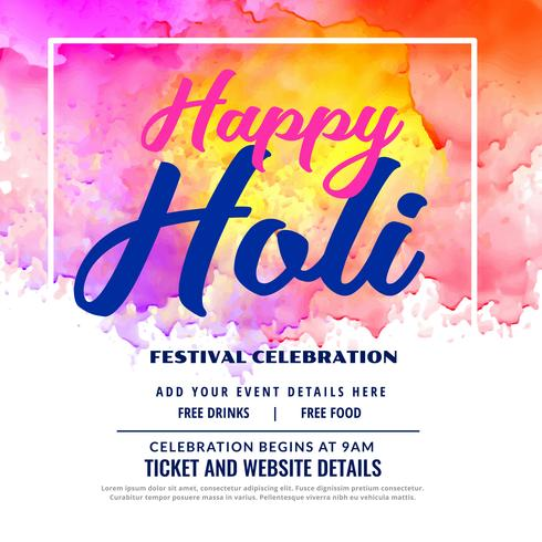 happy holi festival celebration  invitation card design