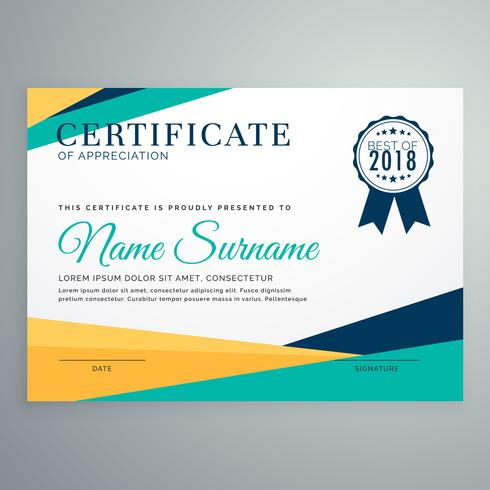modern geometric certificate of appreciation vector template des