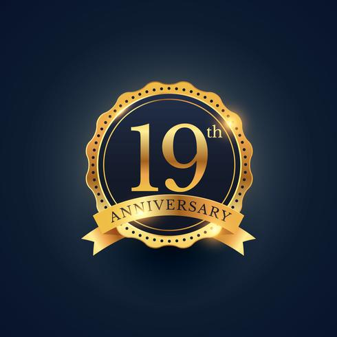 19th anniversary celebration badge label in golden color