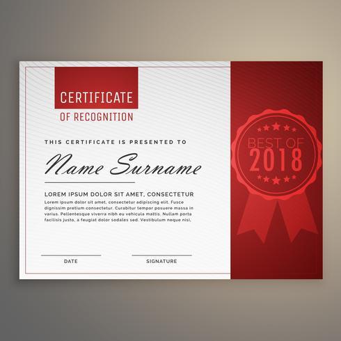modernes sauberes rotes und weißes Zertifikatdesign