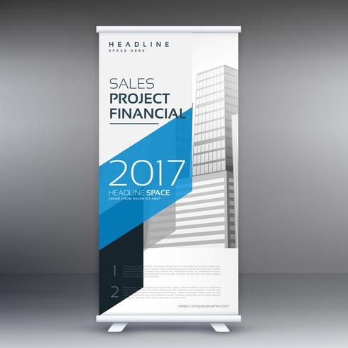 minimal style roll up template presentation in blue color