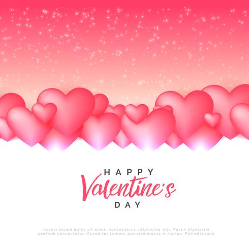 stylish pink hearts love background for valentine's day