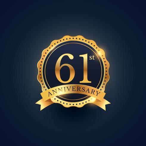 61st anniversary celebration badge label in golden color