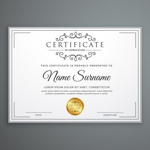 conception de modèle de certificat en vecteur