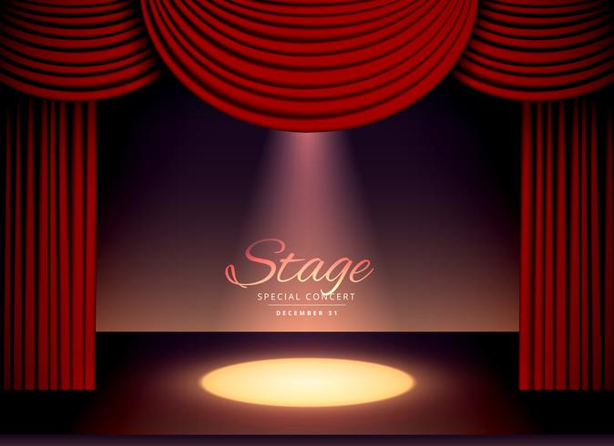 theater scence with red curtains and falling spot light