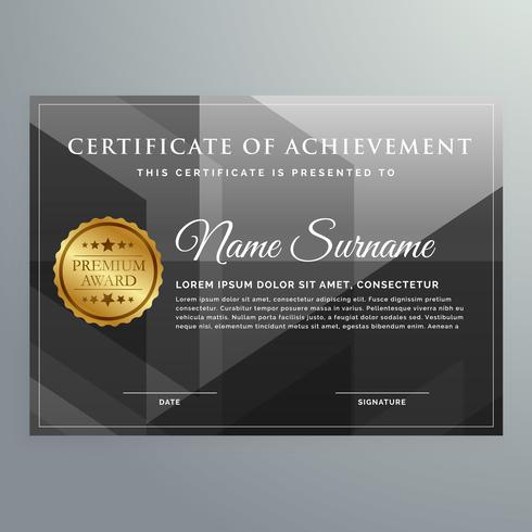 black award certificate design template