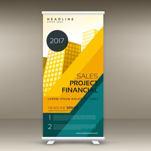modern yellow roll up banner display template vector design