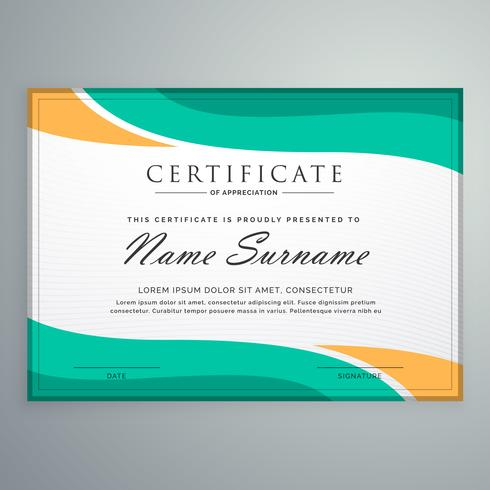creative certificate of appreciation with wavy shapes