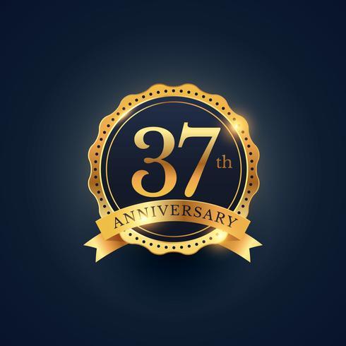 37th anniversary celebration badge label in golden color