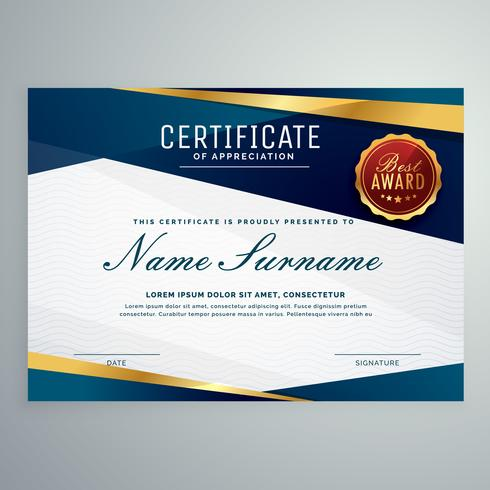 Modern Blue And Golden Certificate Template Download Free Vector