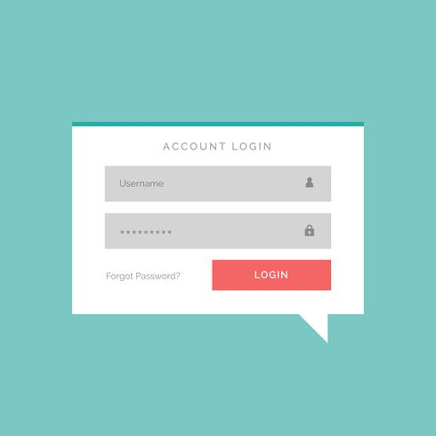 account login box in flat chat bubble style