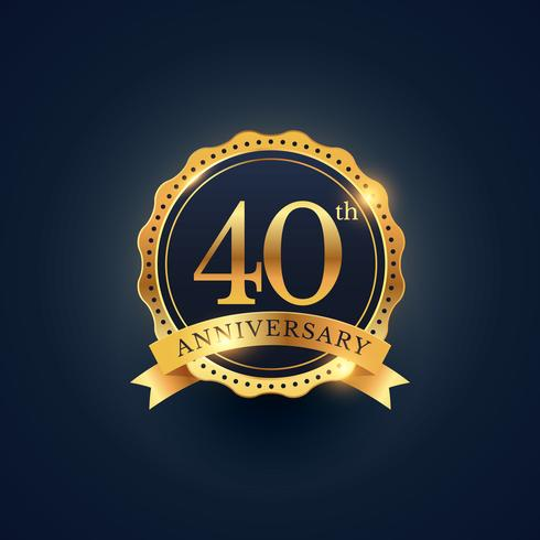 40th anniversary celebration badge label in golden color