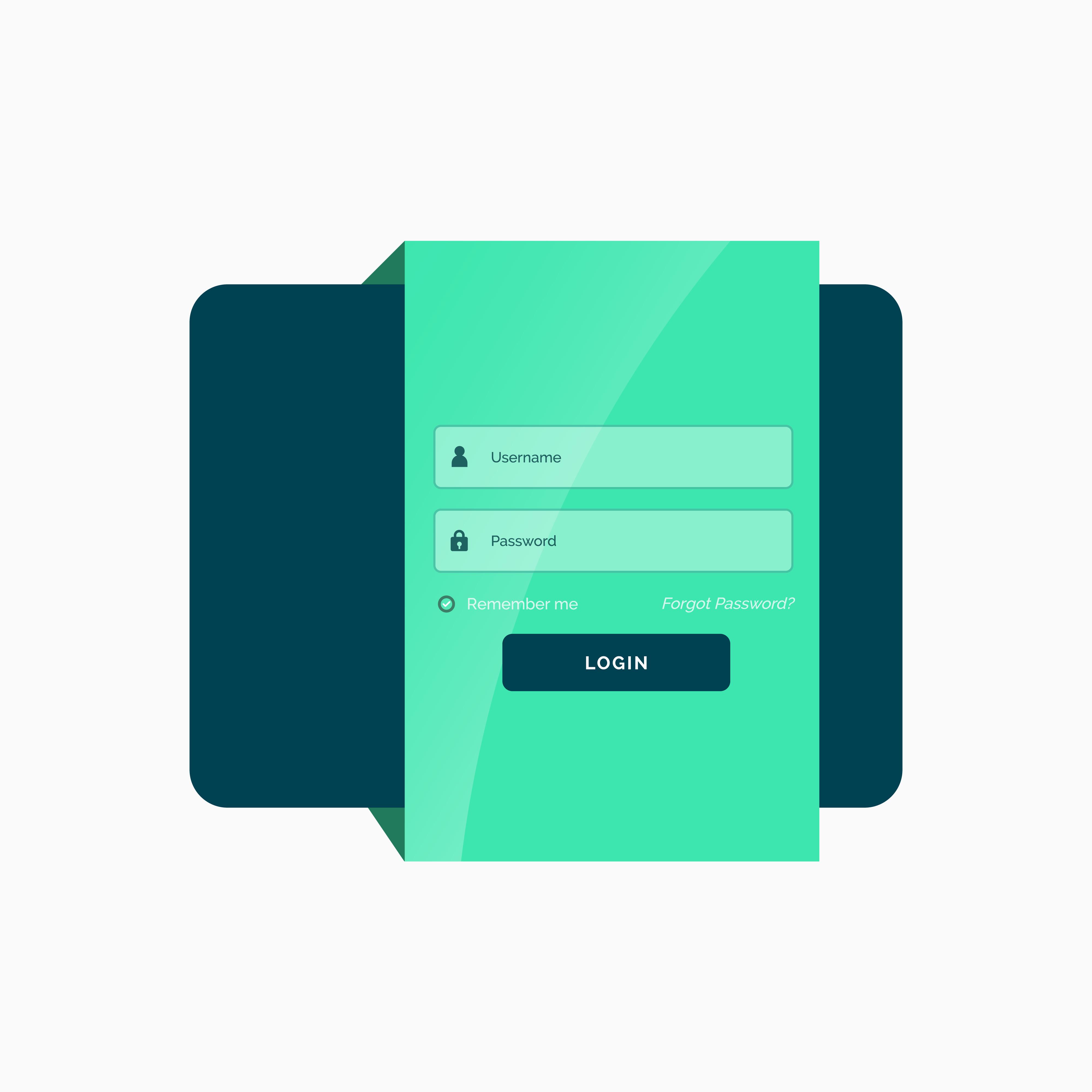 user interface design document template - flat green login user interface template design download