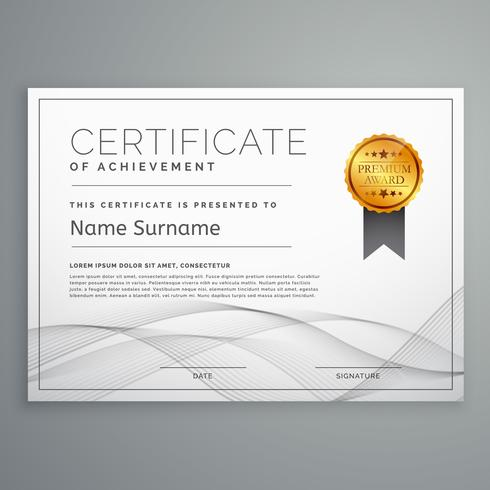 diploma certificate design template with wavy shape download free