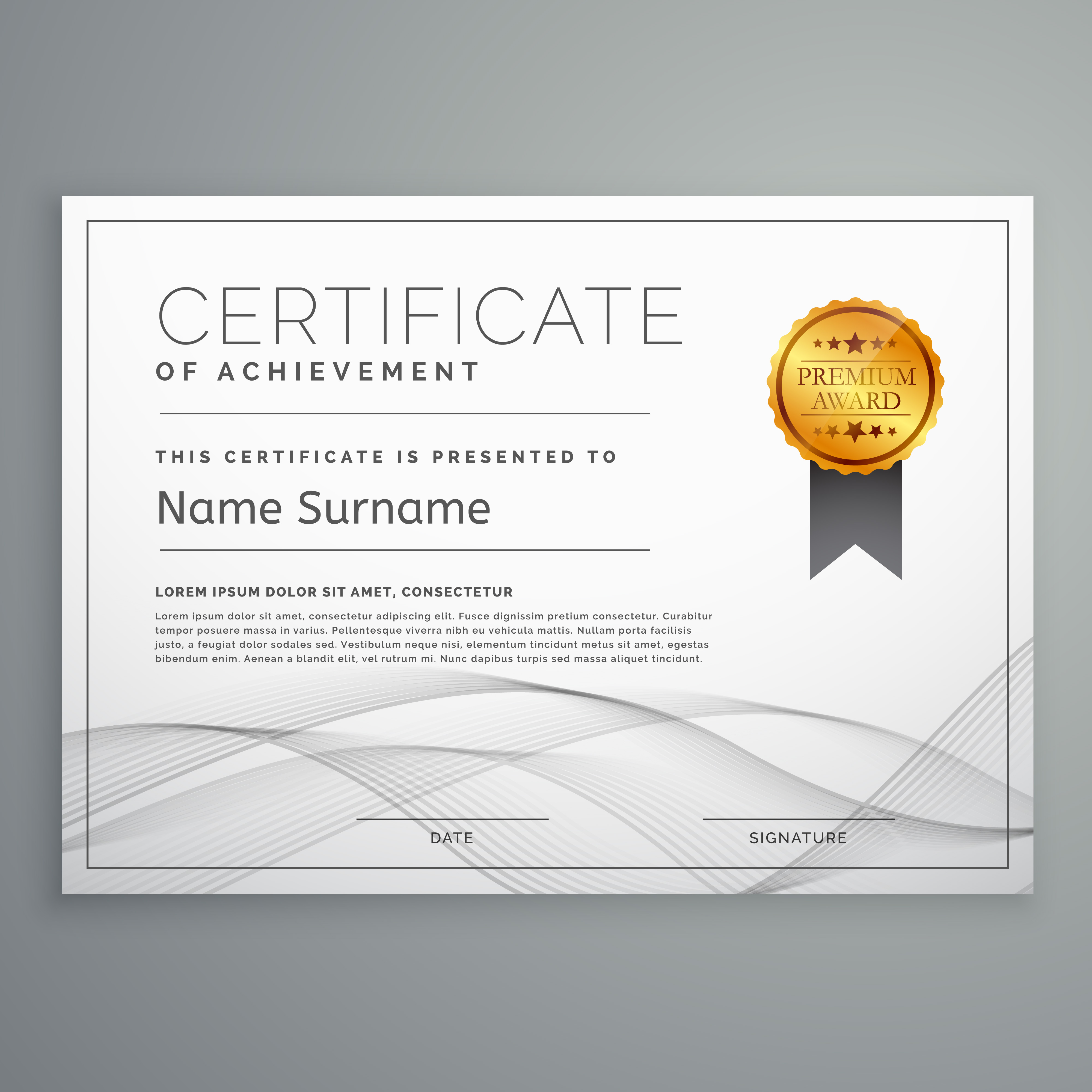 diploma certificate design template with wavy shape ...