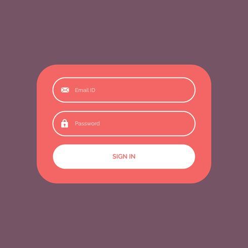 diseño de plantilla de ui de formulario de inicio de sesión de color plano mínimo