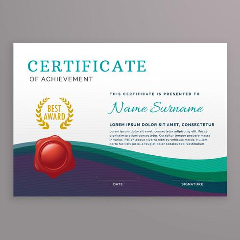 Elegante plantilla de diseño de certificado con formas onduladas.