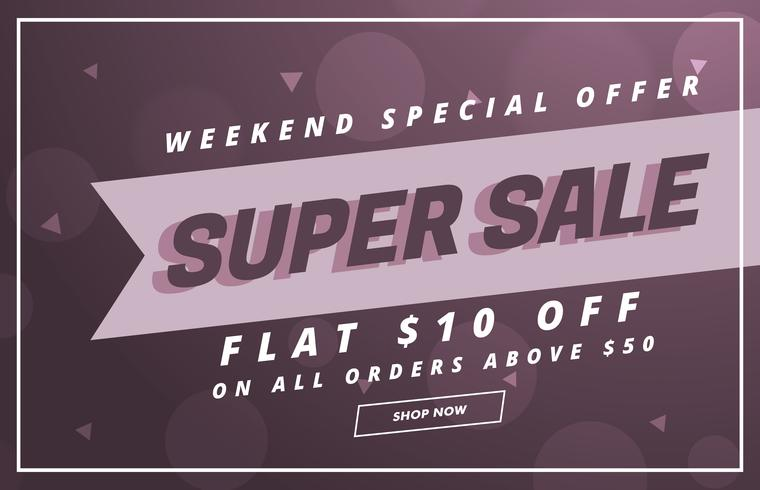 super sale vector banner or voucher design template