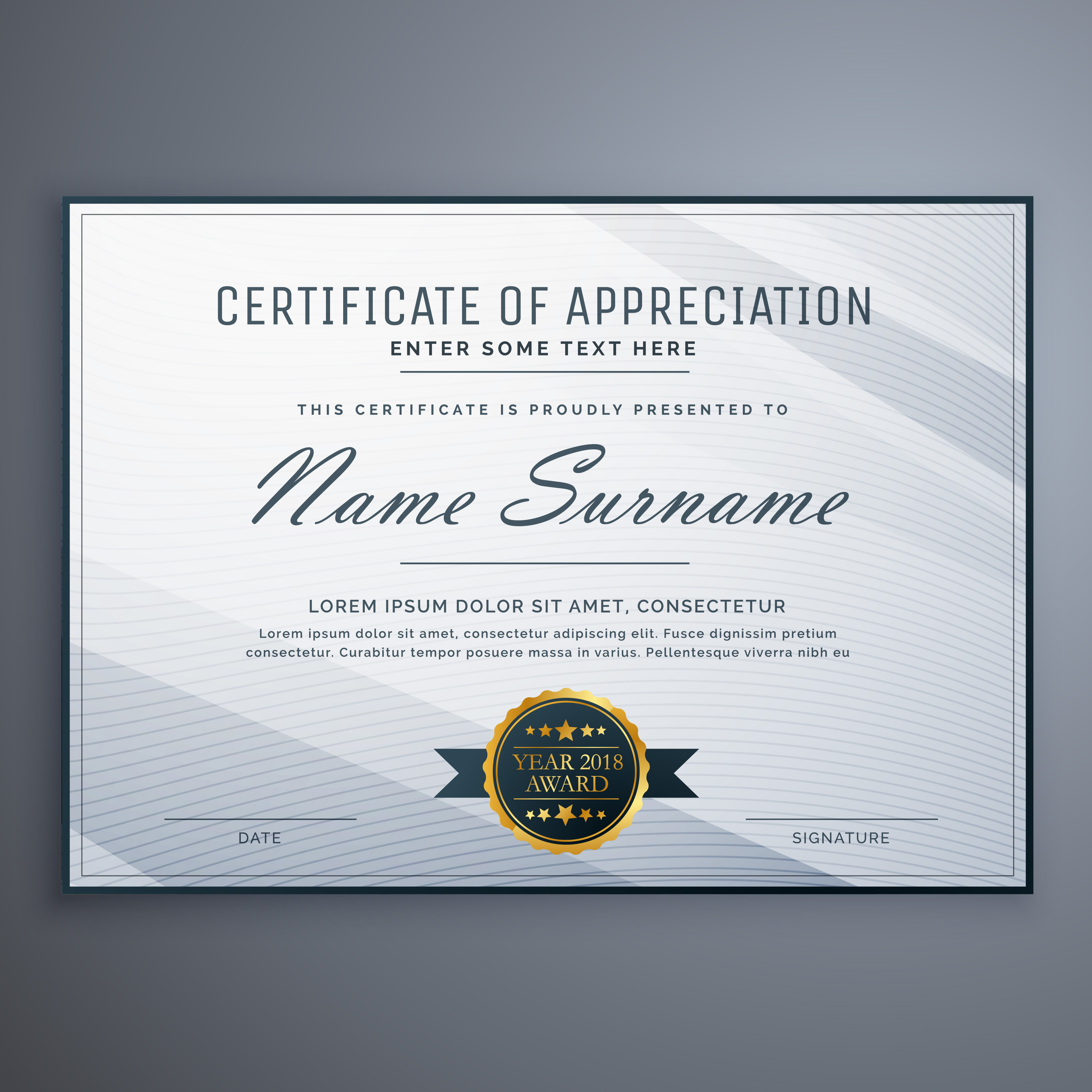 Clean Certificate Of Appreciation Template Design Download Free