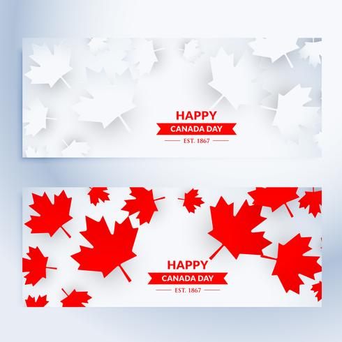 set of happy canada day banners