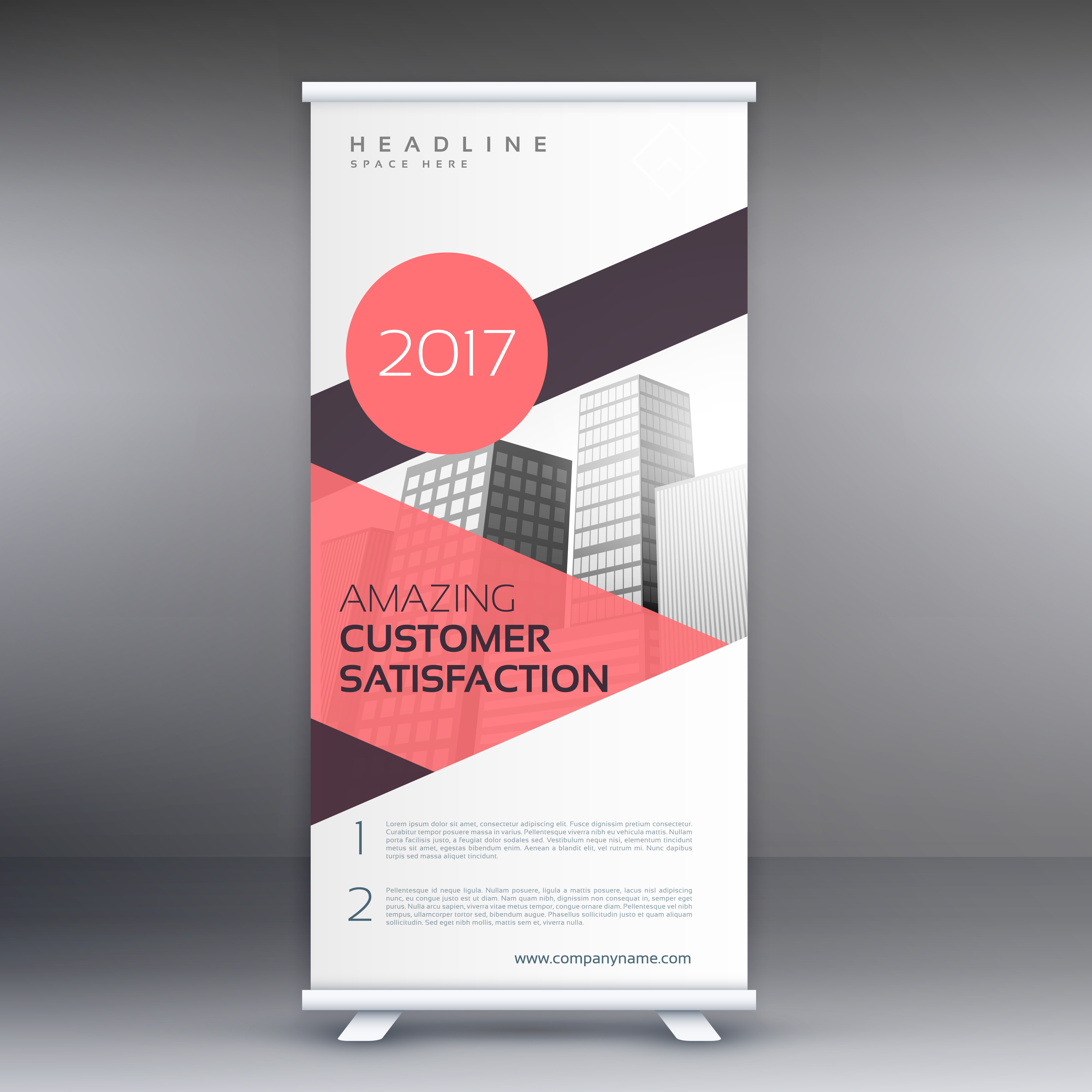 Roll Up Banner In Pink Geometric Shapes Download Free
