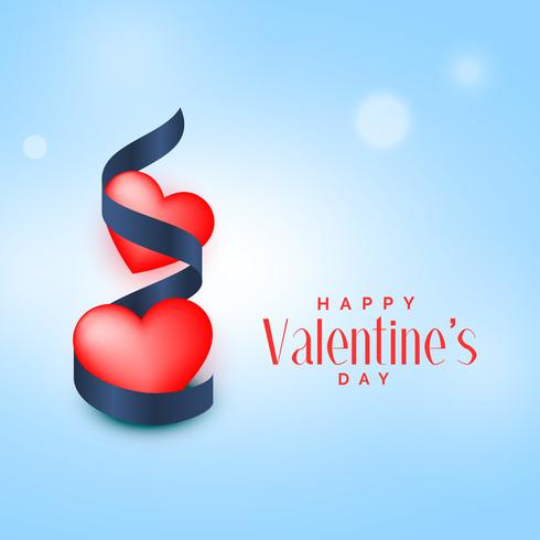 two red hearts with blue ribbon valentine's day background