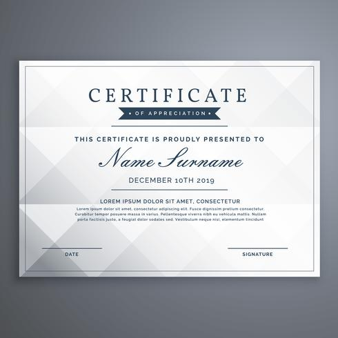 clean white diploma or achievement certificate design template