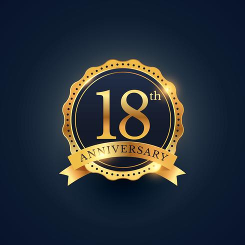 18th anniversary celebration badge label in golden color