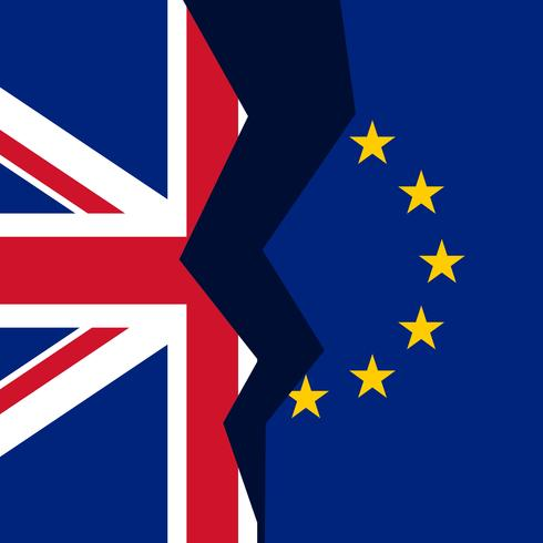 united kingdom and european union broken flag concept