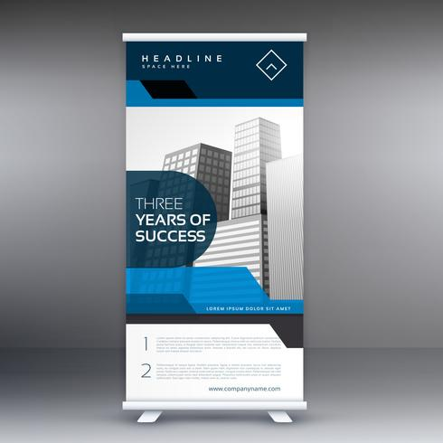 roll up display banner with geometric shapes