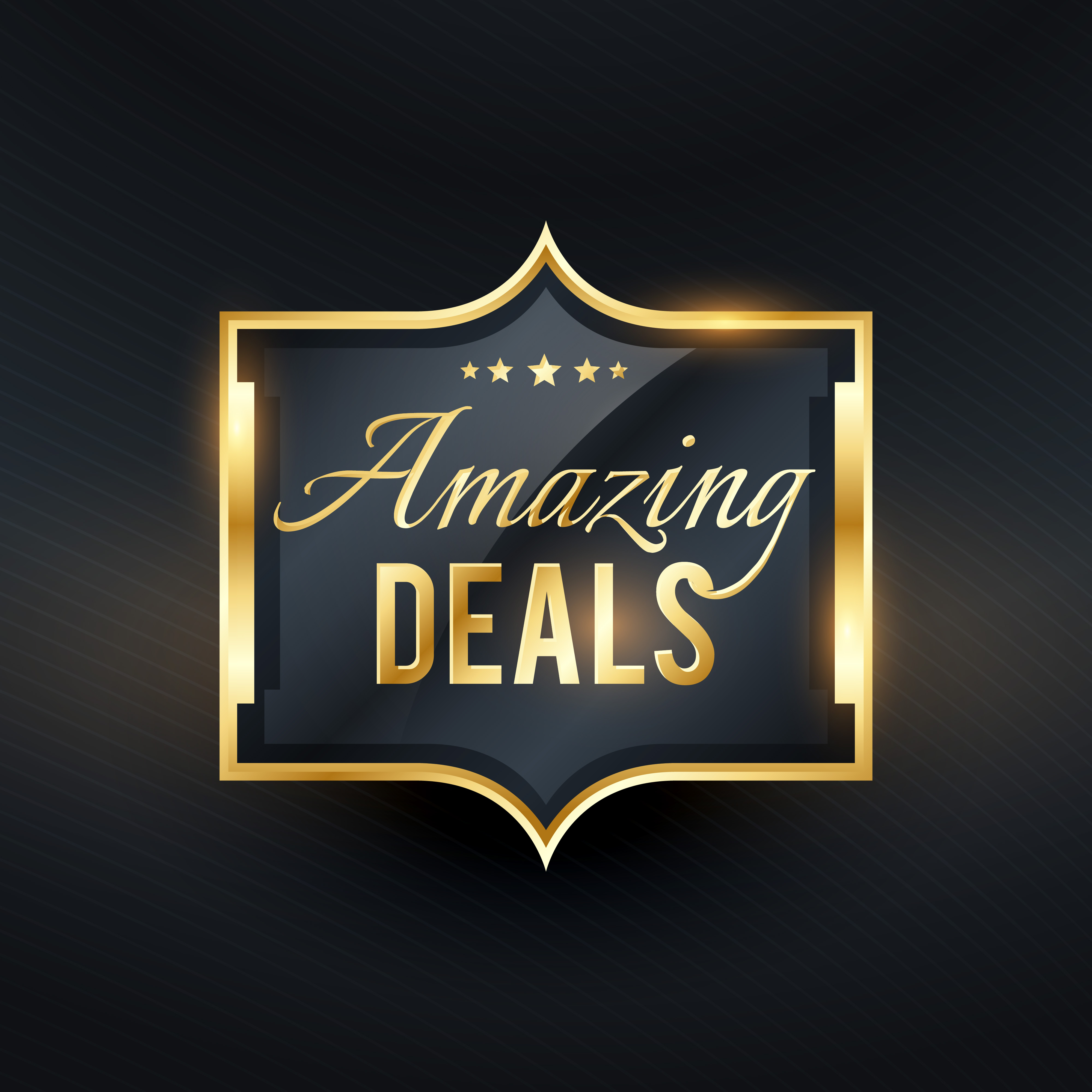 Premium Quality Badge And Banner Collection Vectors: Amazing Deals Golden Label Offers Vector Badge
