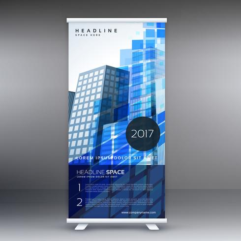 blue abstract standee template design