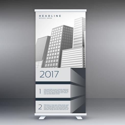gray standee roll up banner template design concept for marketin