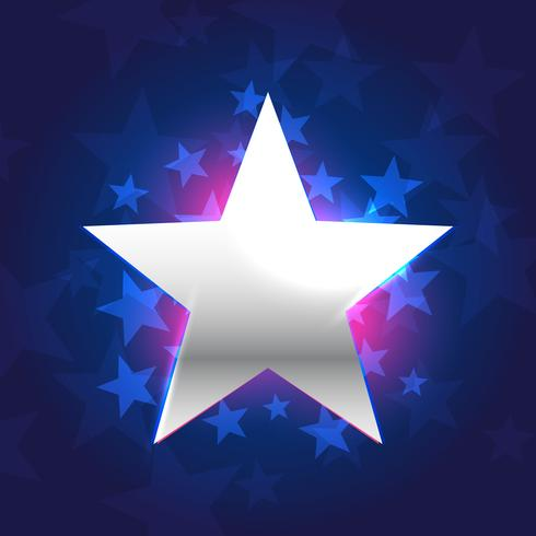 silver star in blue background