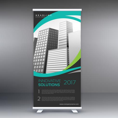 modern roll up stand banner with wavy lines and buildings