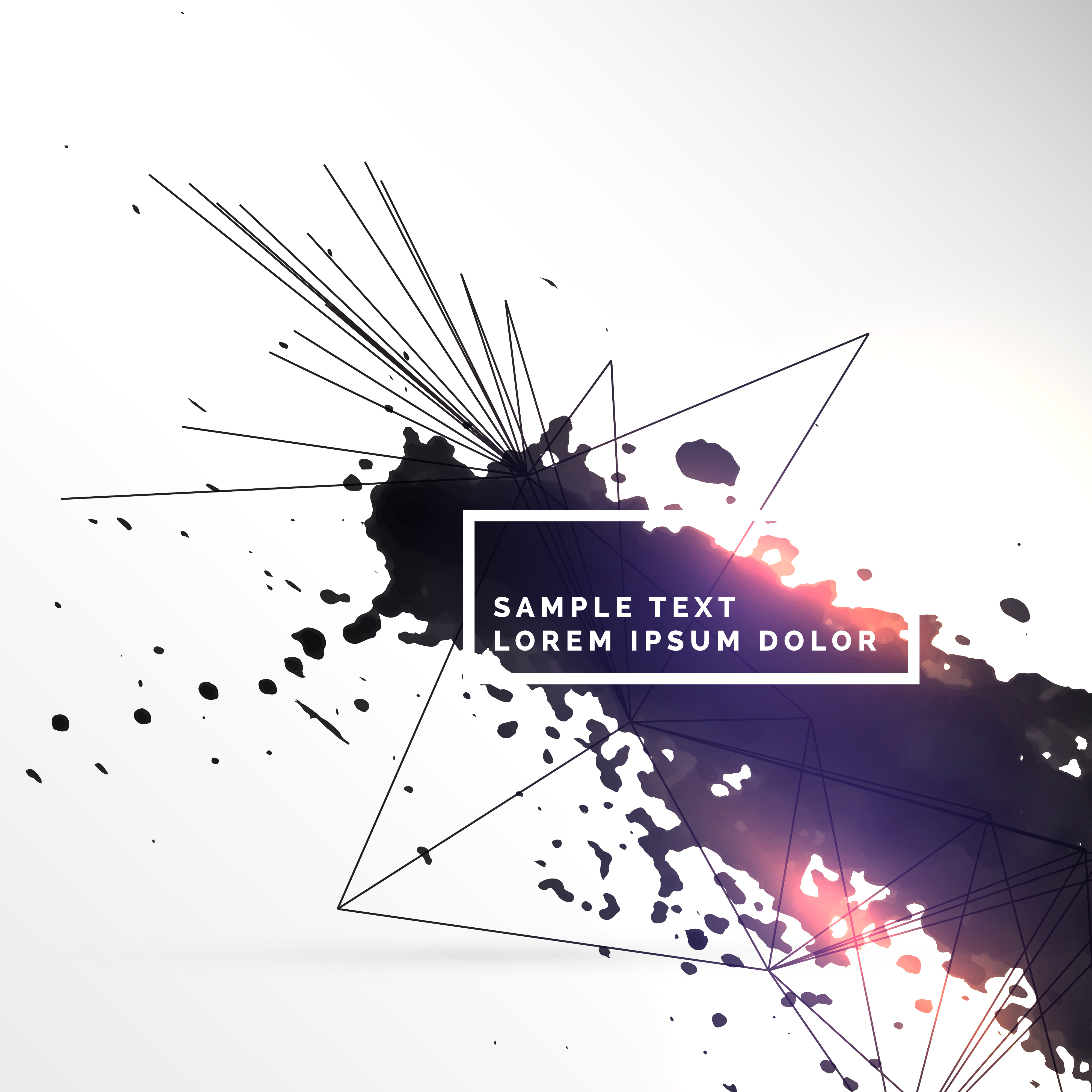 Ink Splatter With Abstract Lines Background