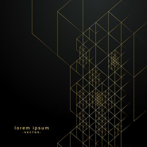 geometric golden lines on black background