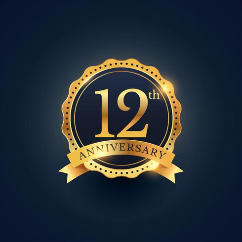 12th anniversary celebration badge label in golden color
