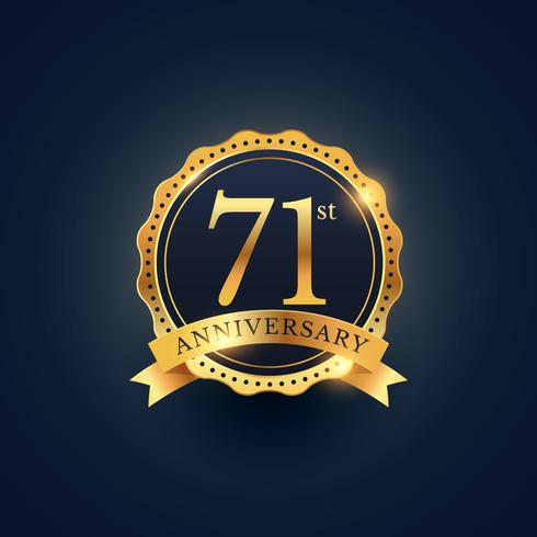 71st anniversary celebration badge label in golden color