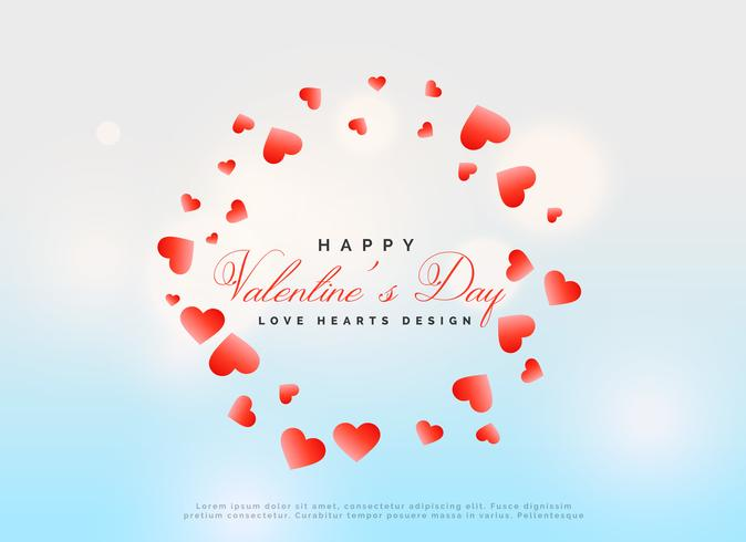 valentine's day template design with scattered red hearts