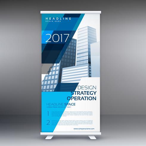kreativ blått och vitt rulla upp banderolldesign för affärsreklam