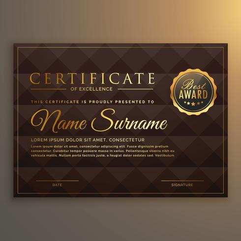 vip certificate design in golden color with diamond shape backgr