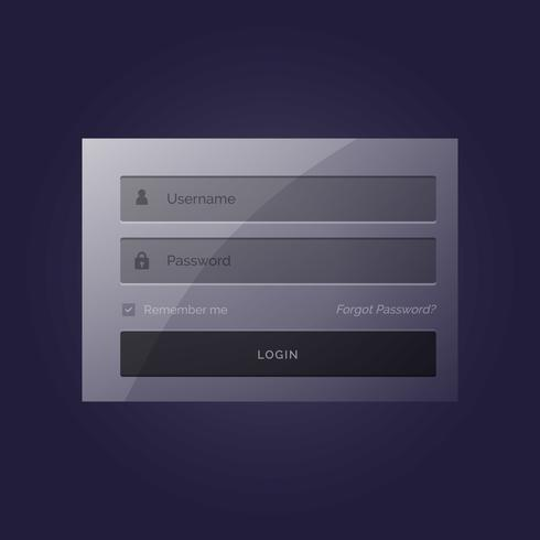 stylish login form modern template design in dark theme